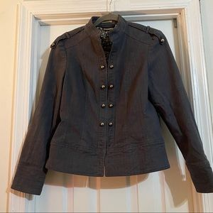 Ruff Hewn Band Style Blazer w/ Mini Chevron Print